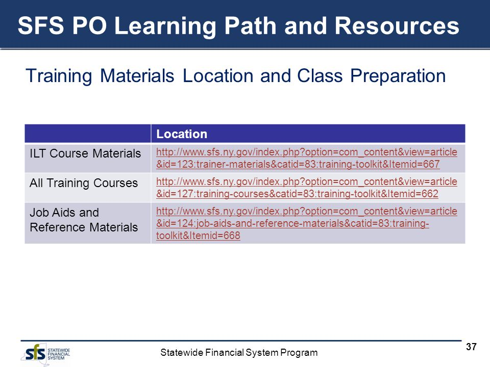 SFS PO Learning Path and Resources