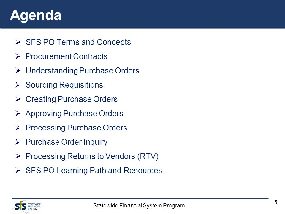 Agenda SFS PO Terms and Concepts Procurement Contracts
