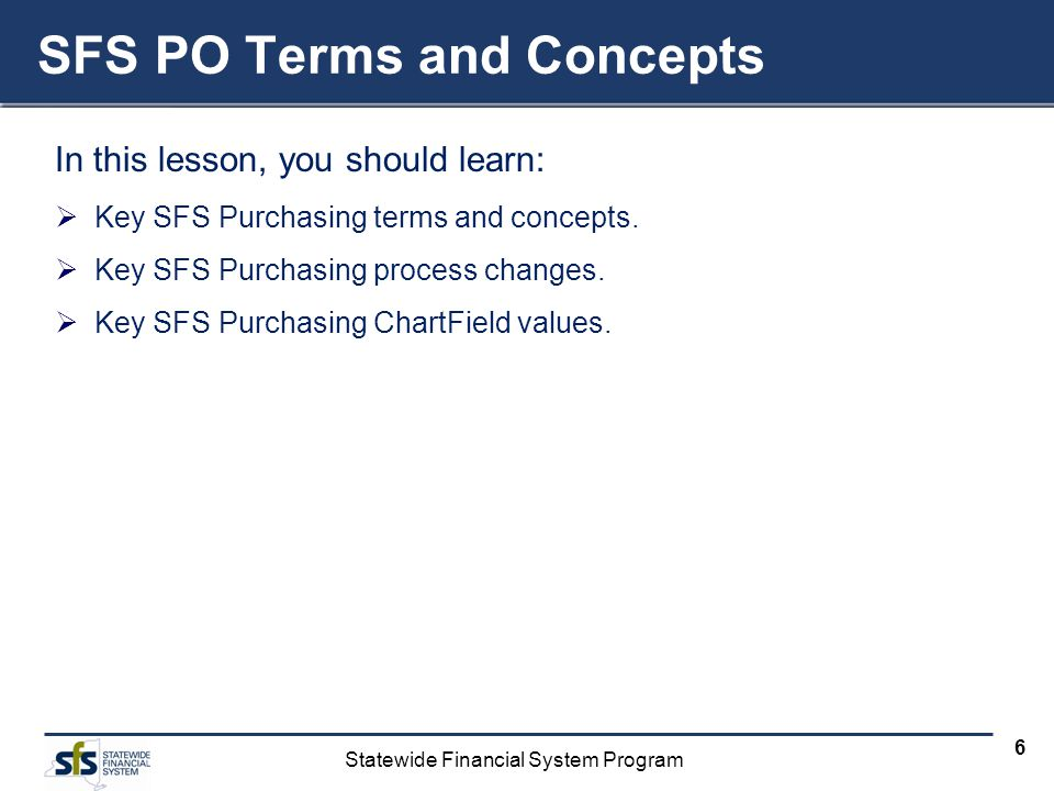 SFS PO Terms and Concepts