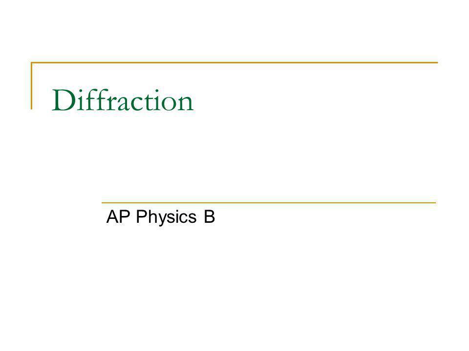 Diffraction AP Physics B