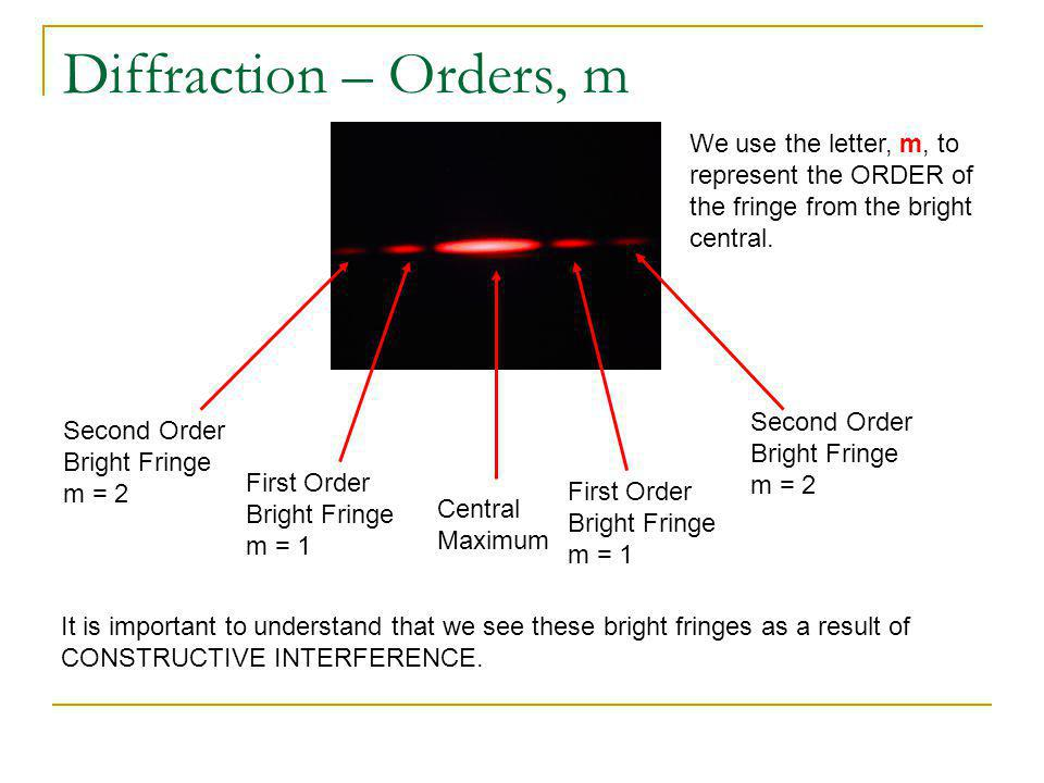 Diffraction – Orders, m We use the letter, m, to represent the ORDER of the fringe from the bright central.