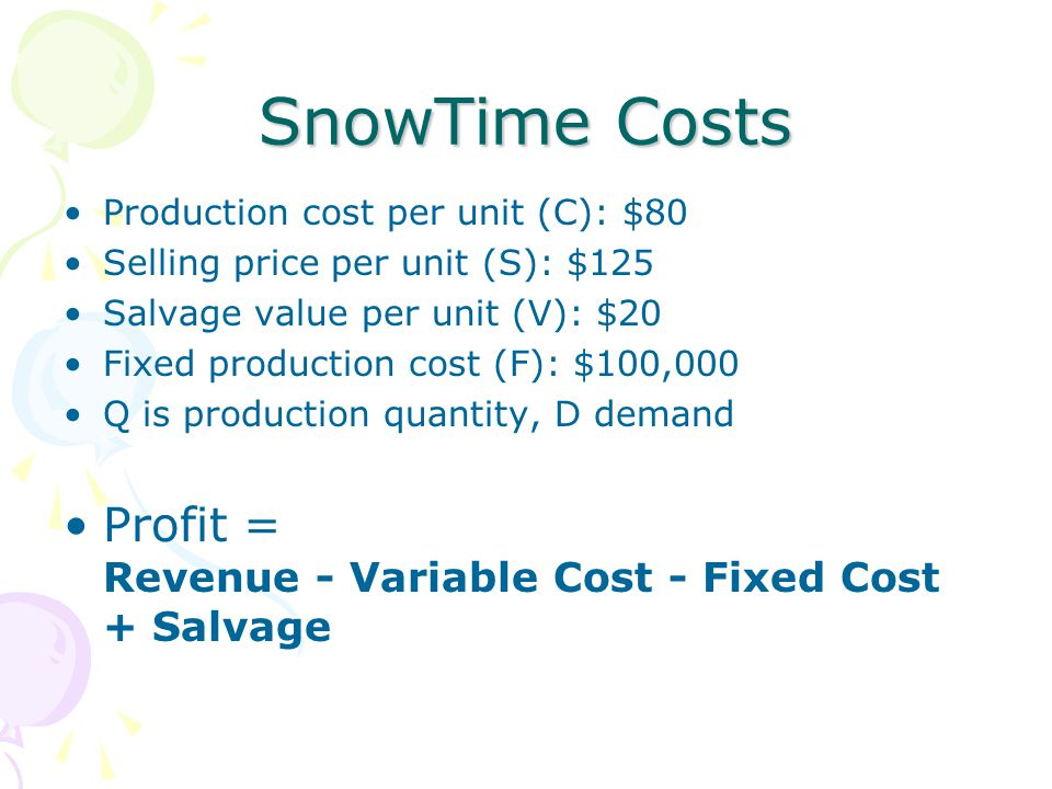 SnowTime Costs Profit = Revenue - Variable Cost - Fixed Cost + Salvage