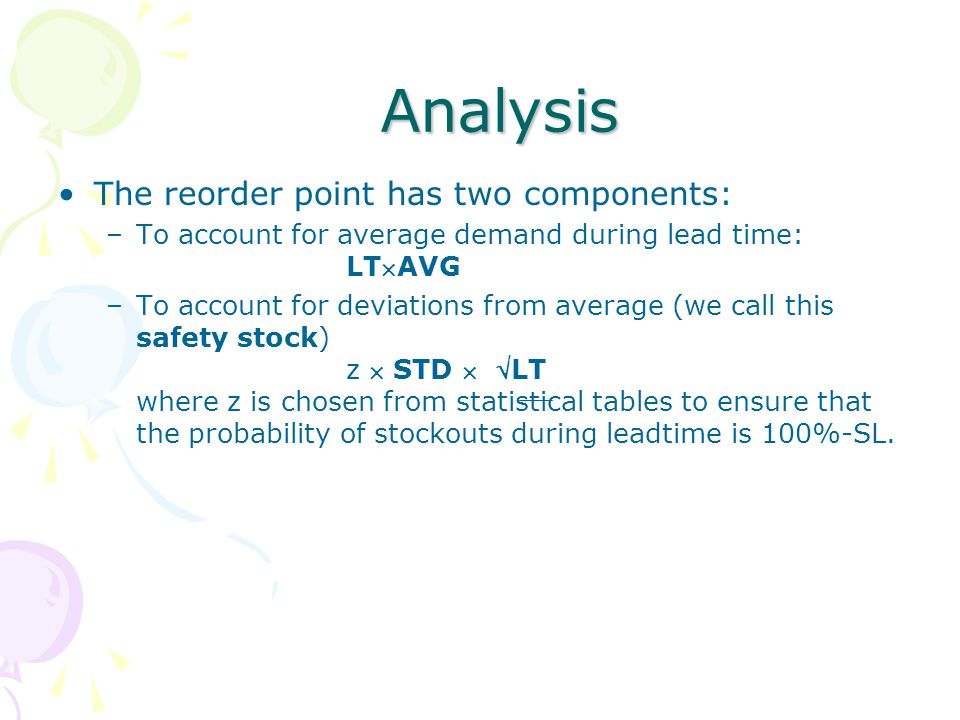 Analysis The reorder point has two components: