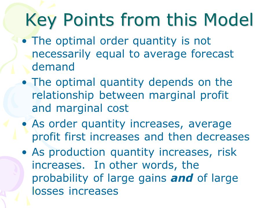Key Points from this Model