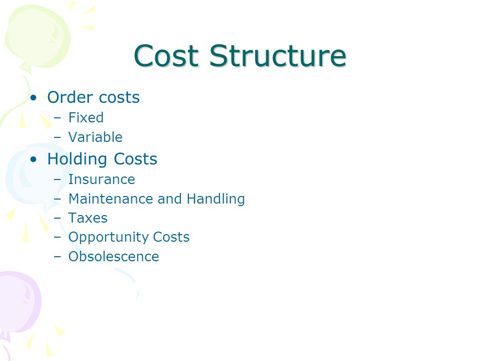 Cost Structure Order costs Holding Costs Fixed Variable Insurance