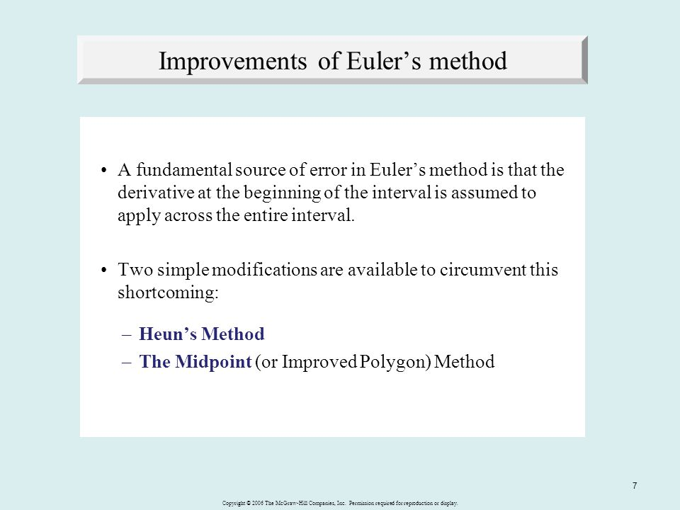 Improvements of Euler's method
