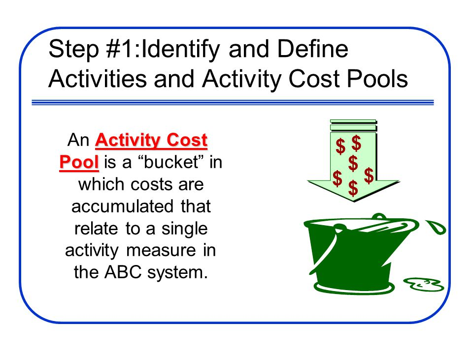 Step #1:Identify and Define Activities and Activity Cost Pools