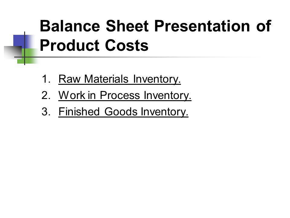 Balance Sheet Presentation of Product Costs