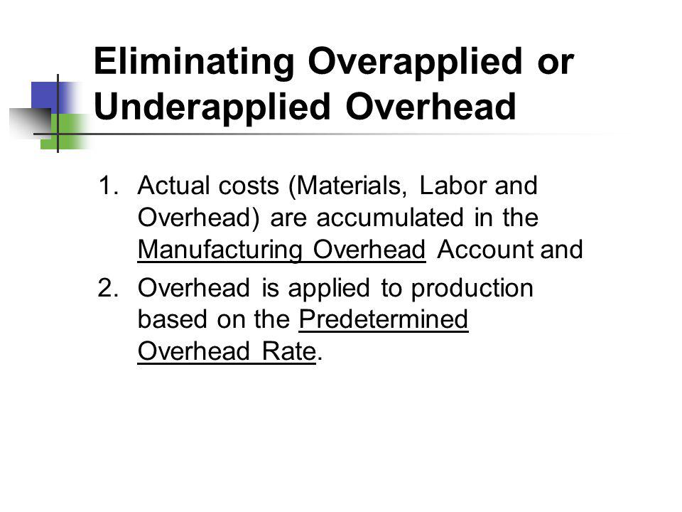 Eliminating Overapplied or Underapplied Overhead
