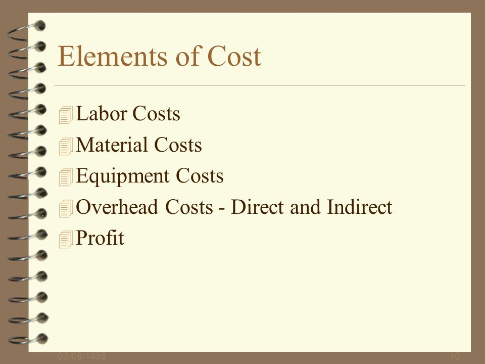 Elements of Cost Labor Costs Material Costs Equipment Costs
