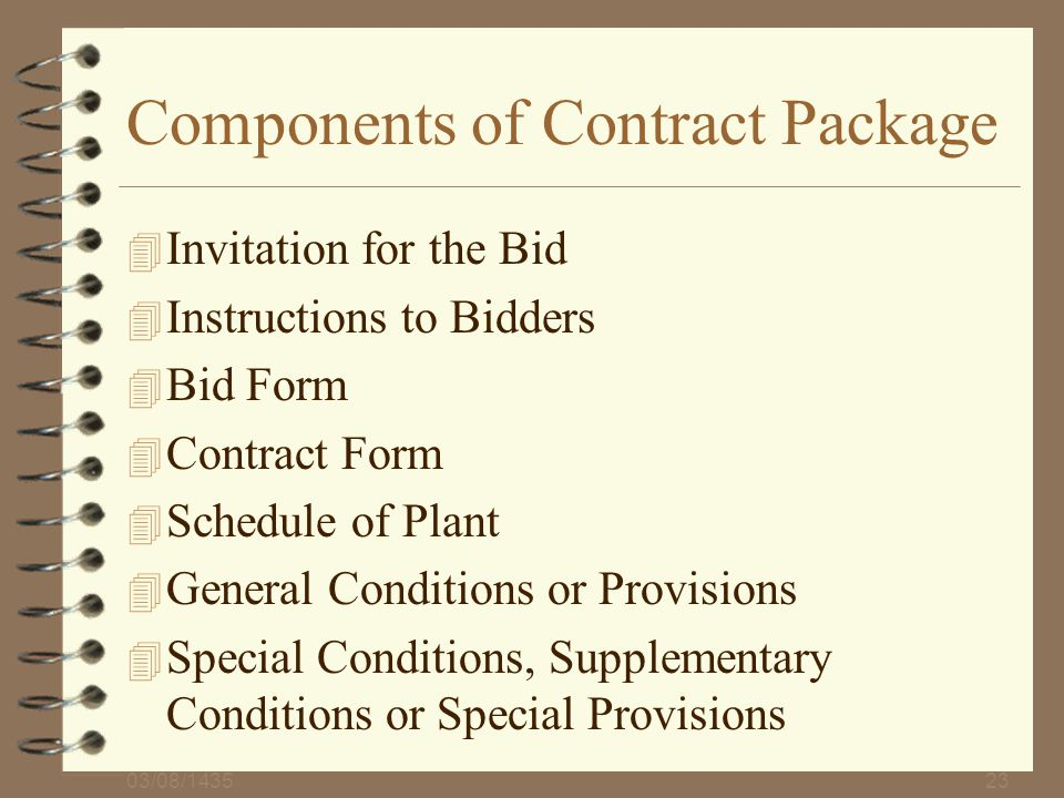Components of Contract Package