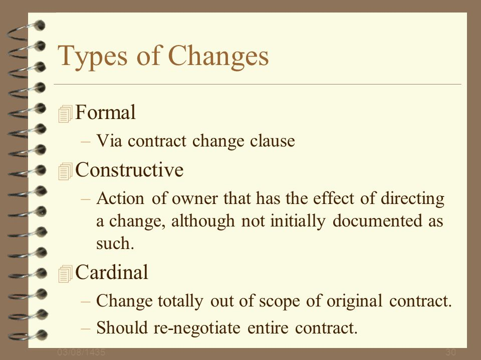 Types of Changes Formal Constructive Cardinal