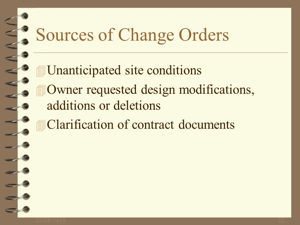 Sources of Change Orders