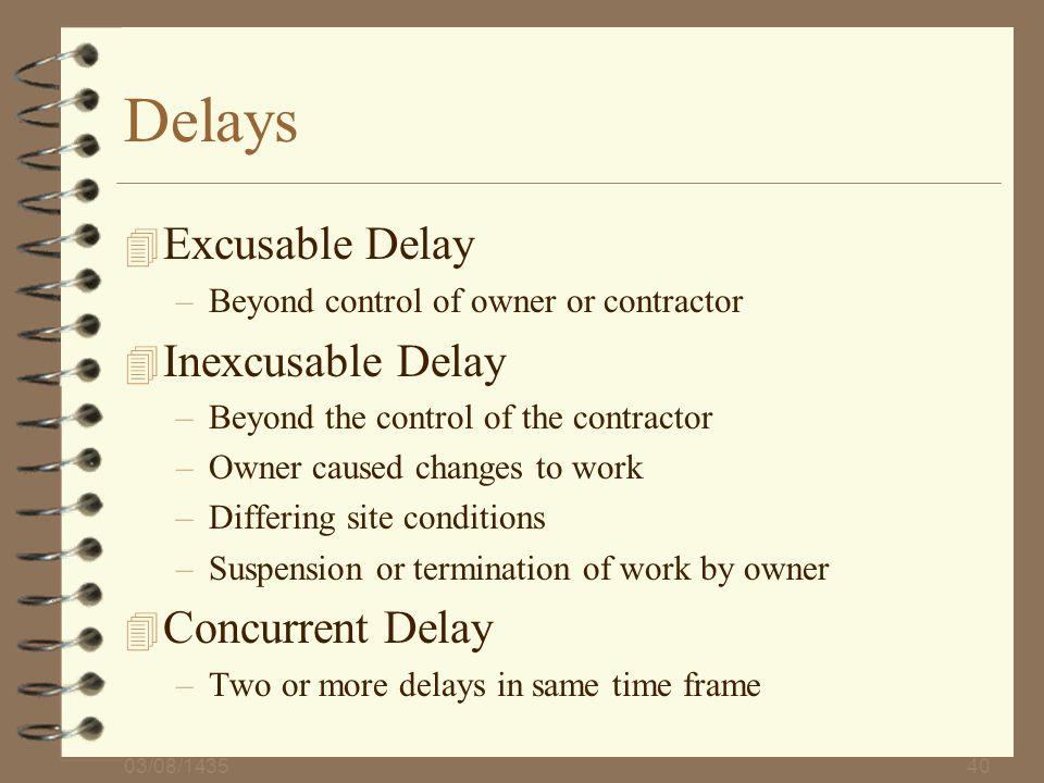 Delays Excusable Delay Inexcusable Delay Concurrent Delay