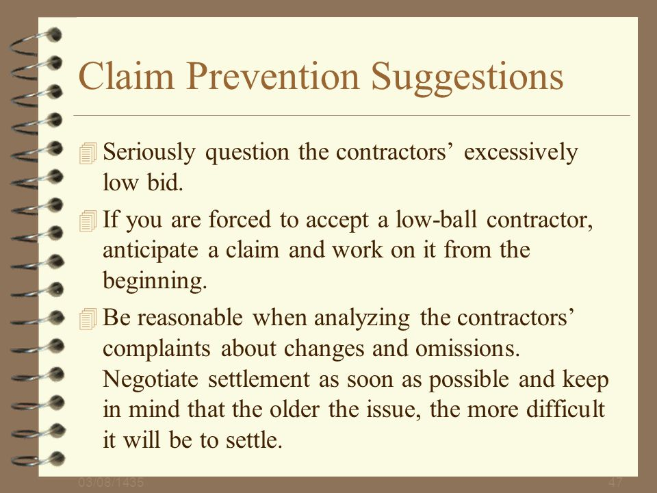 Claim Prevention Suggestions