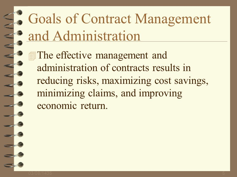 Goals of Contract Management and Administration