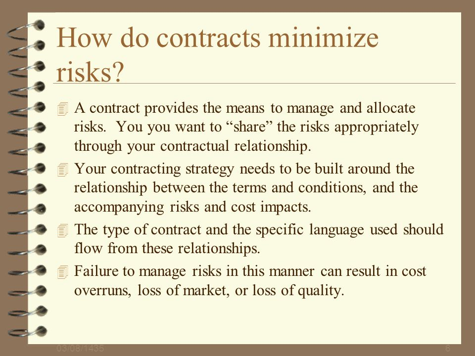 How do contracts minimize risks