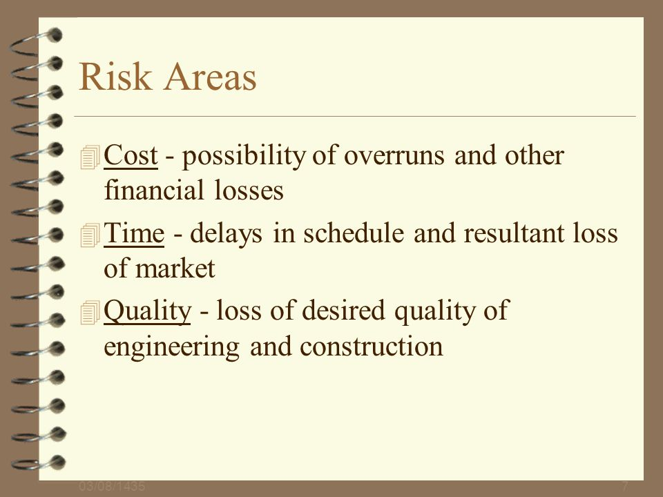 Risk Areas Cost - possibility of overruns and other financial losses