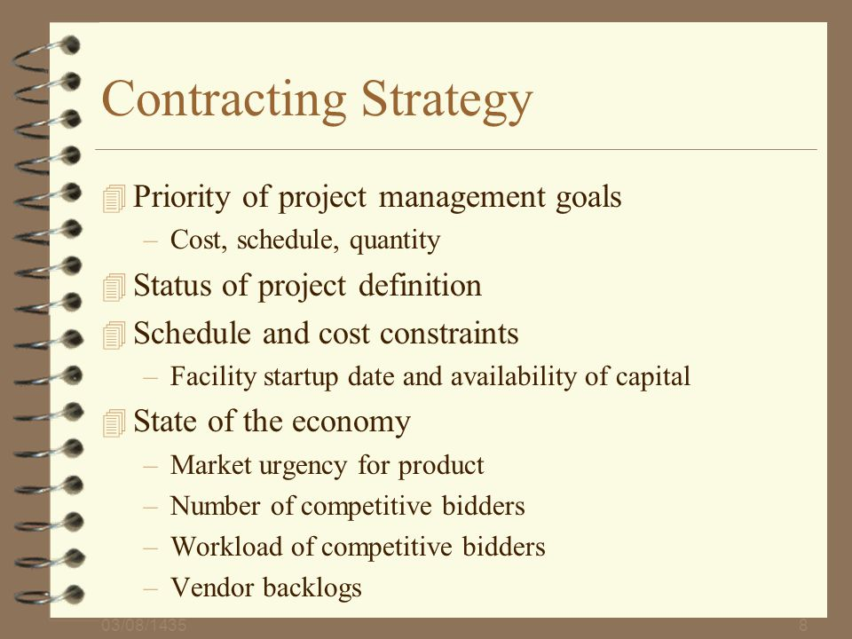 Contracting Strategy Priority of project management goals