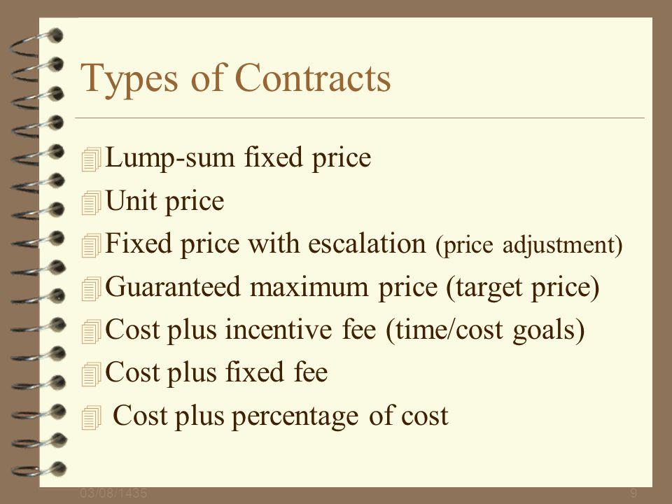 Types of Contracts Lump-sum fixed price Unit price