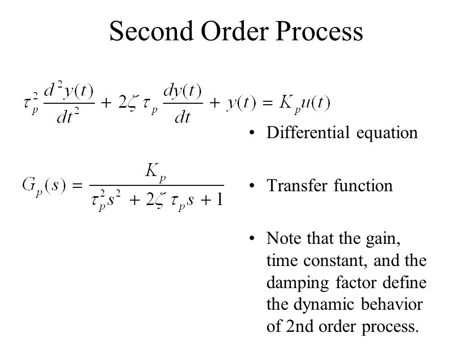 Second Order Process Differential equation Transfer function
