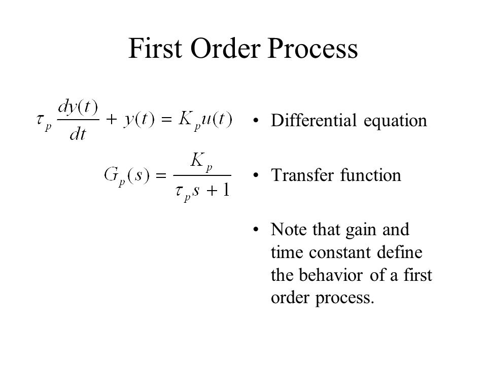 First Order Process Differential equation Transfer function