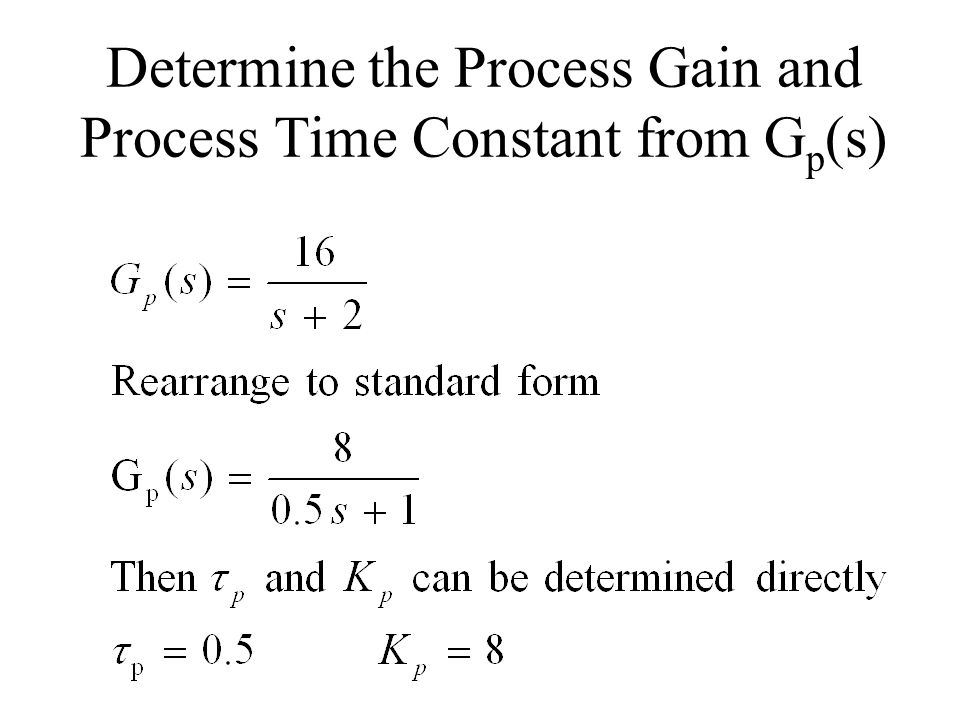 Determine the Process Gain and Process Time Constant from Gp(s)