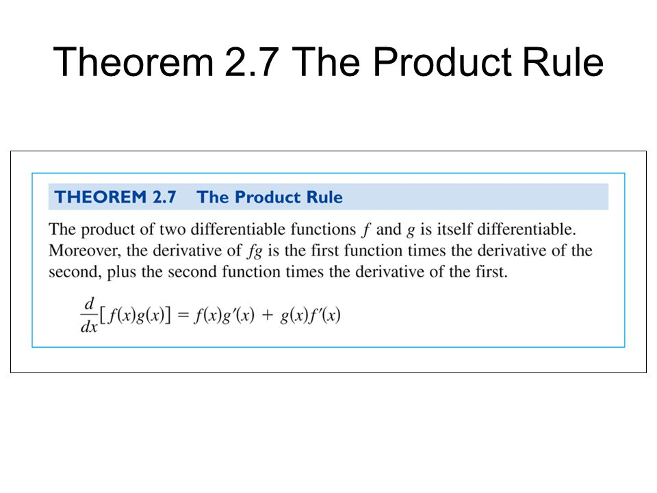 Theorem 2.7 The Product Rule
