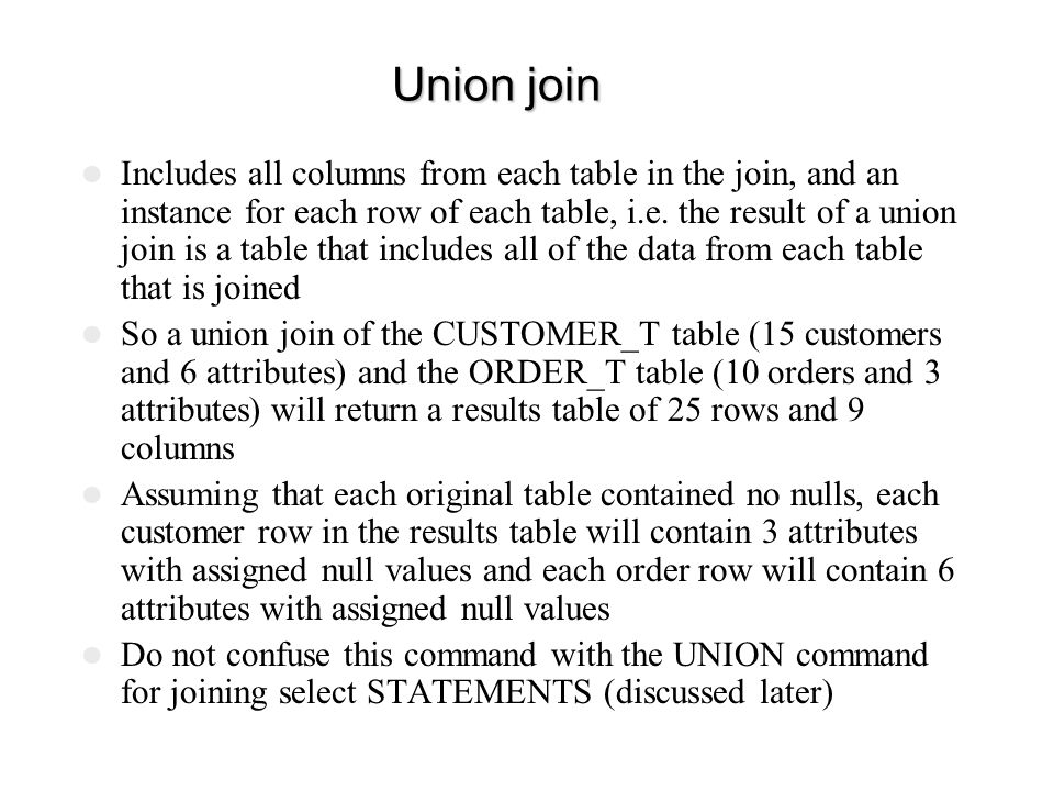 Union join