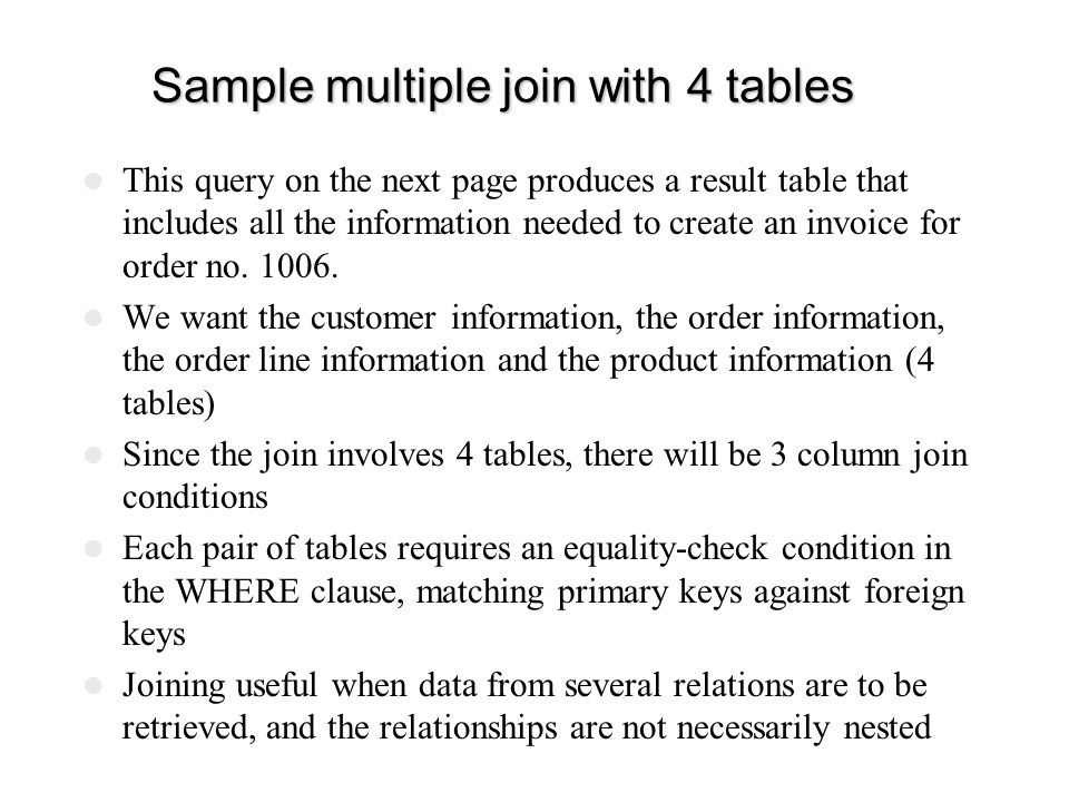 Sample multiple join with 4 tables
