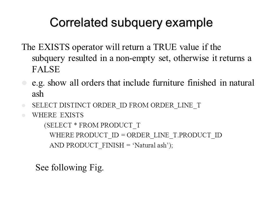 Correlated subquery example
