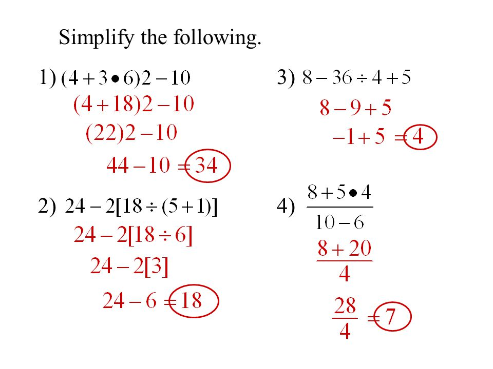 Objective To Simplify Expressions Using The Order Of