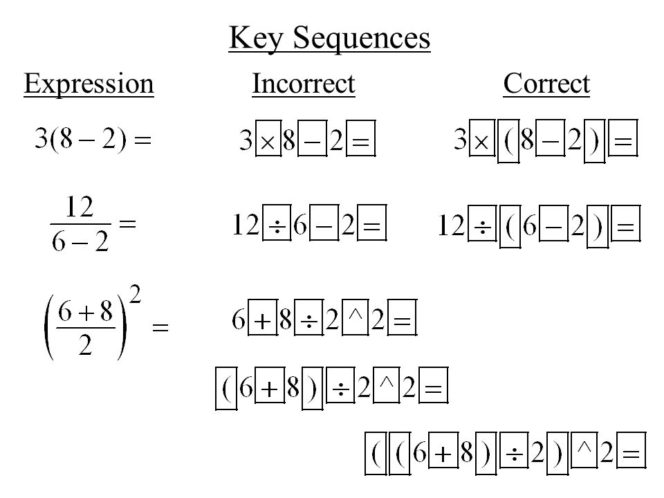 Key Sequences Expression Incorrect Correct