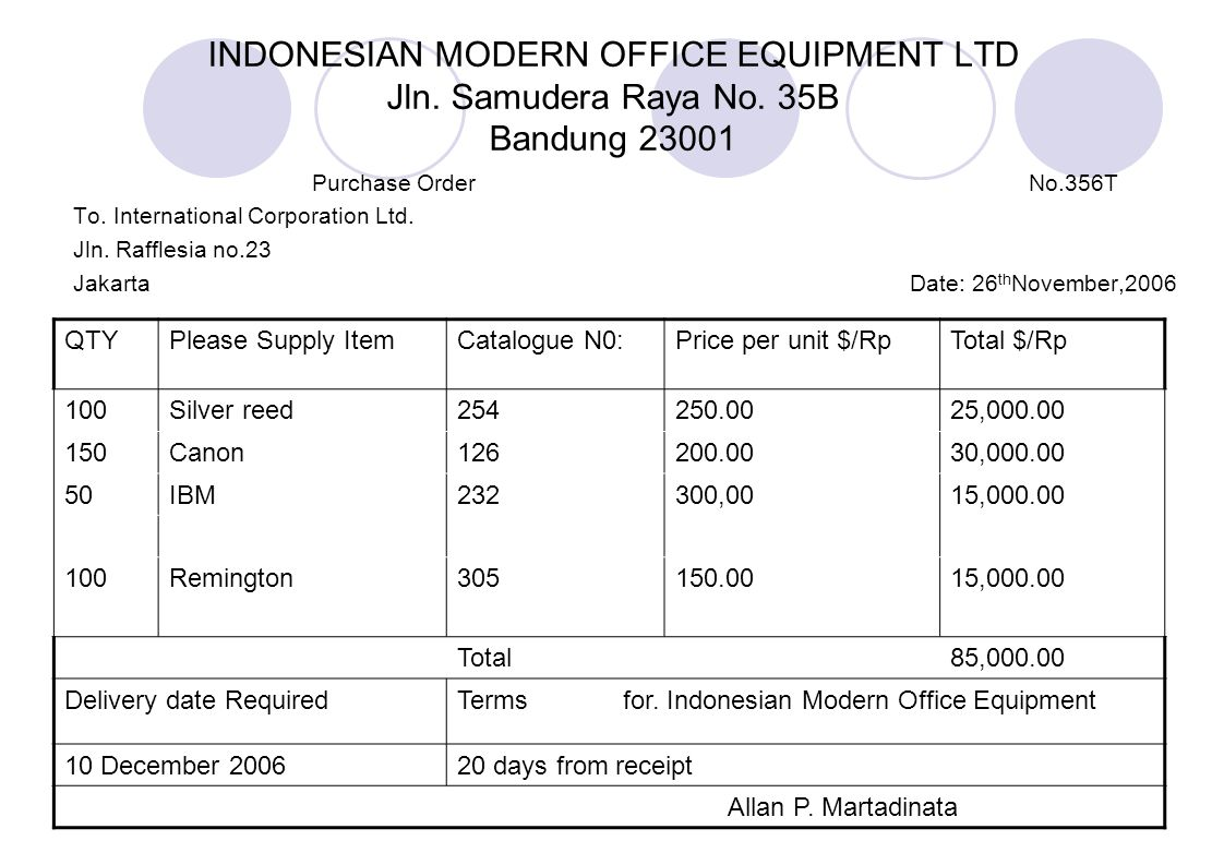 INDONESIAN MODERN OFFICE EQUIPMENT LTD Jln. Samudera Raya No