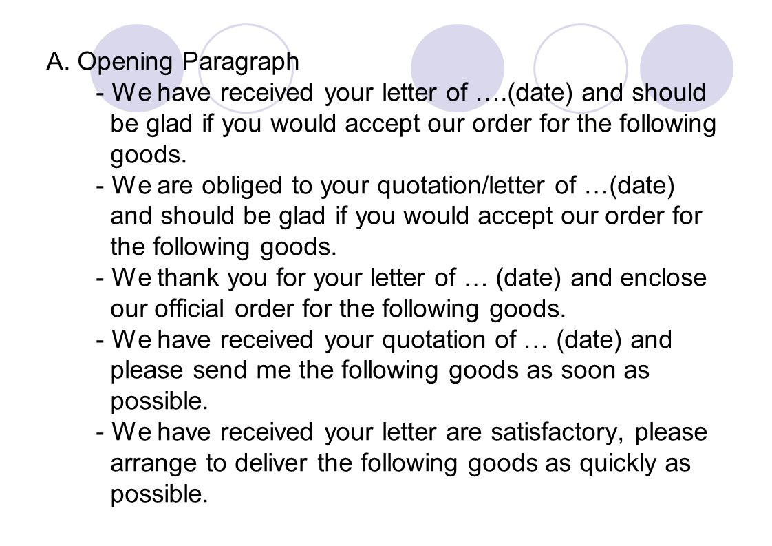 A. Opening Paragraph - We have received your letter of ….(date) and should. be glad if you would accept our order for the following.