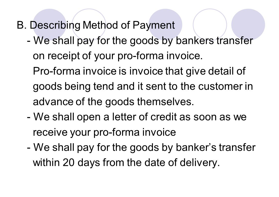 B. Describing Method of Payment