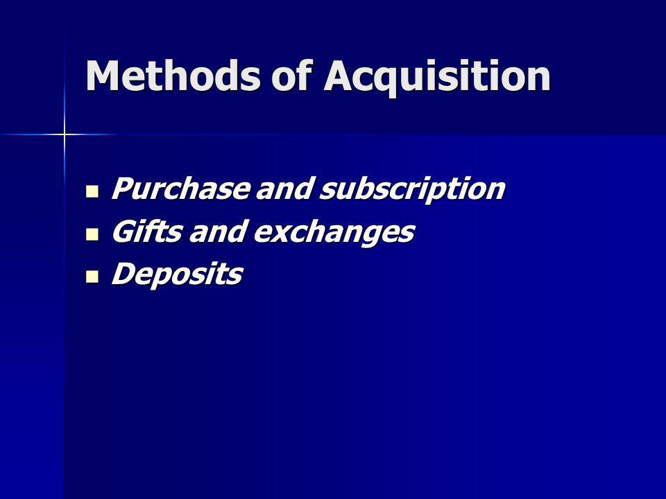 Methods of Acquisition