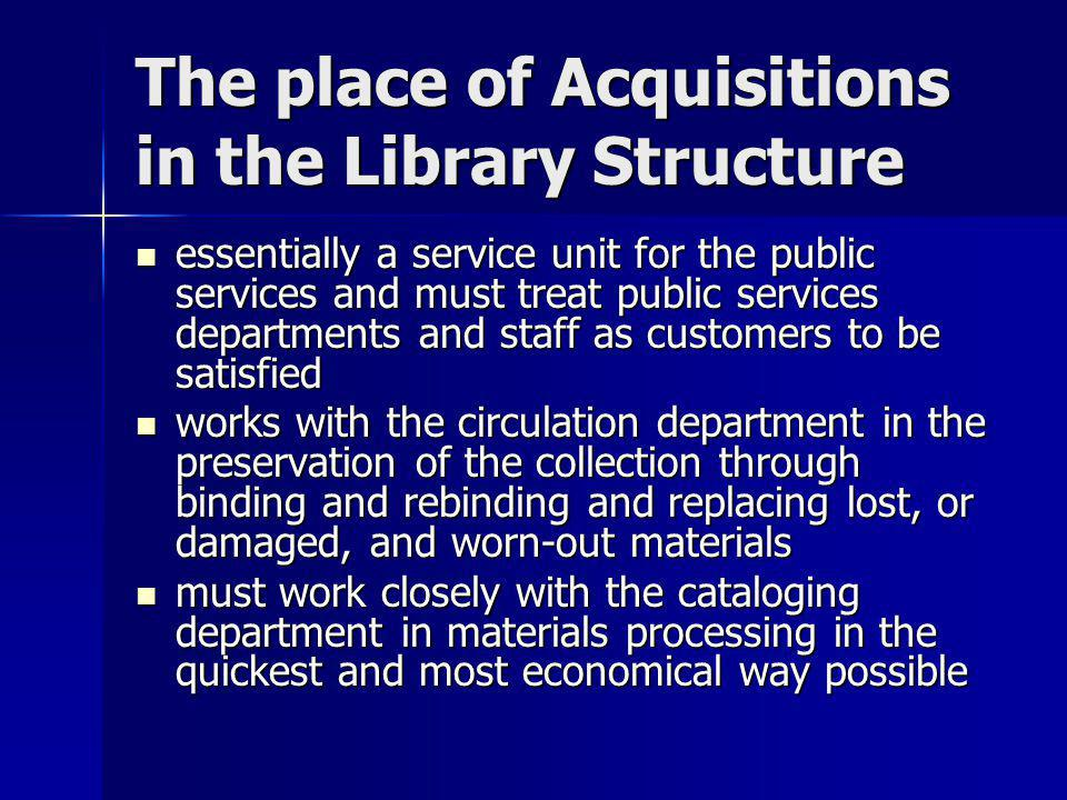 The place of Acquisitions in the Library Structure