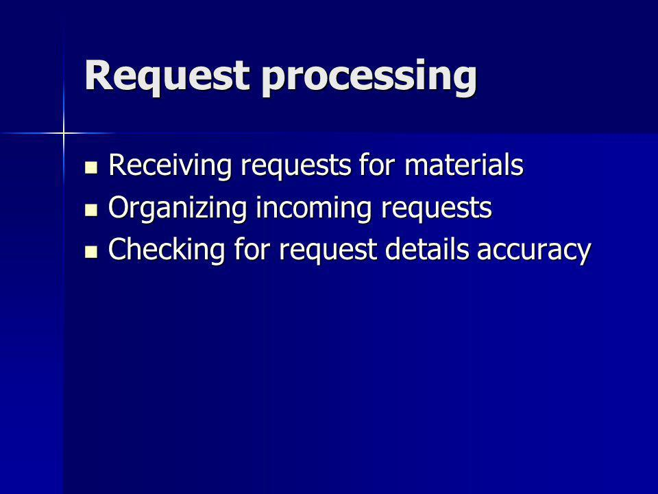 Request processing Receiving requests for materials