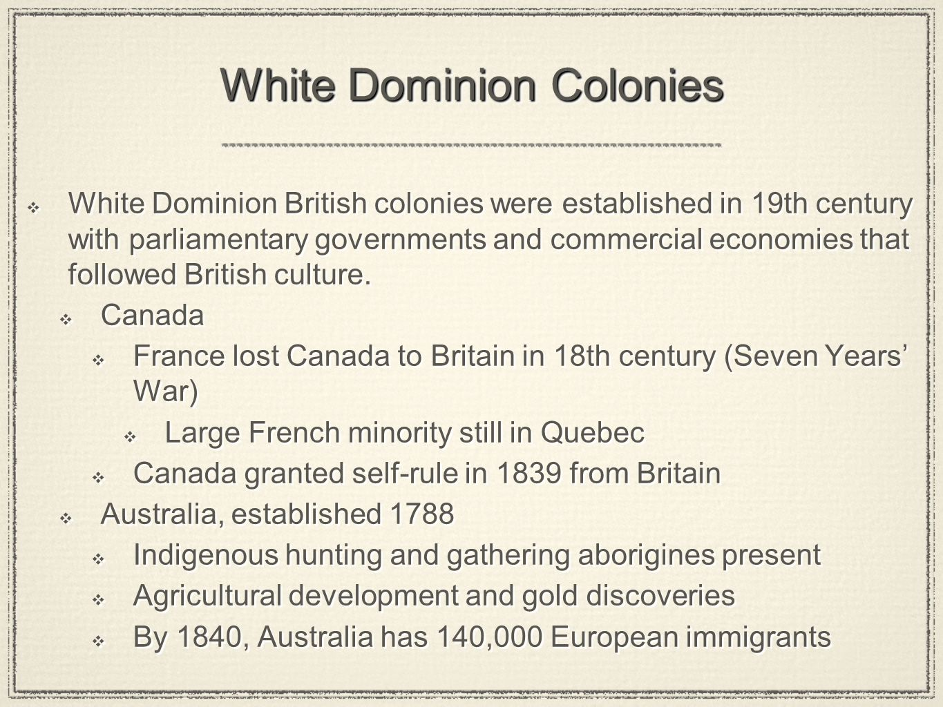White Dominion Colonies
