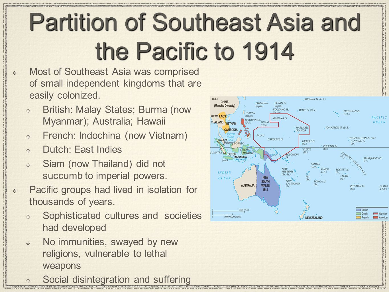 Partition of Southeast Asia and the Pacific to 1914