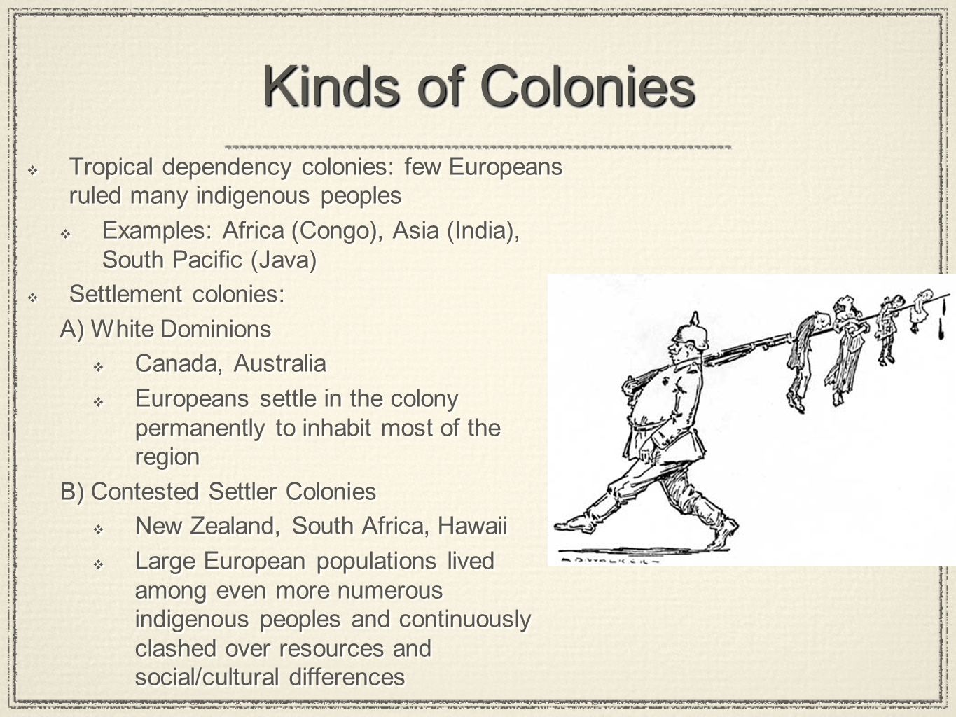 Kinds of Colonies Tropical dependency colonies: few Europeans ruled many indigenous peoples.