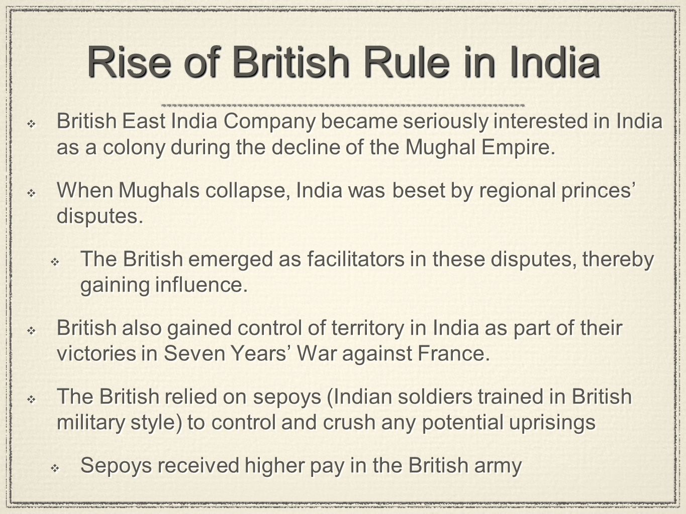 Rise of British Rule in India
