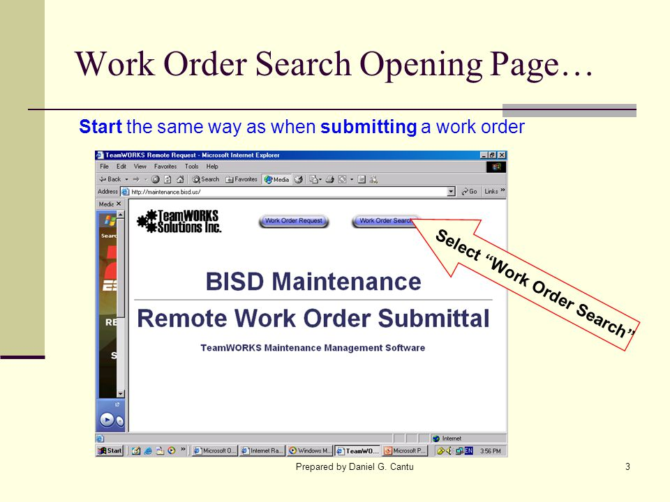 Work Order Search Opening Page…