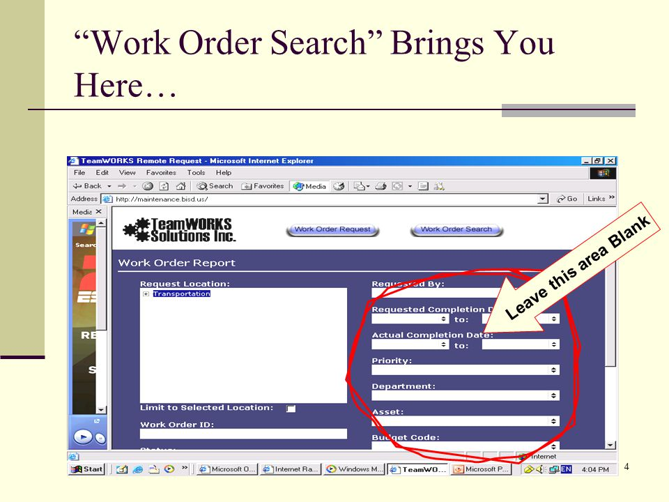 Work Order Search Brings You Here…