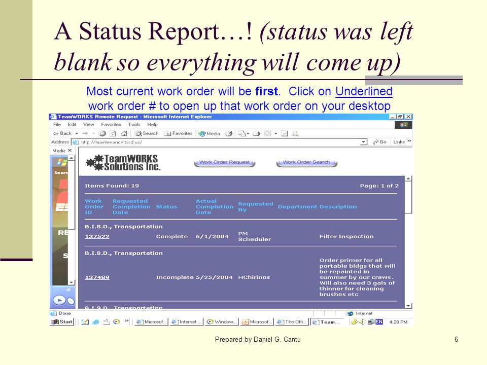 A Status Report…! (status was left blank so everything will come up)