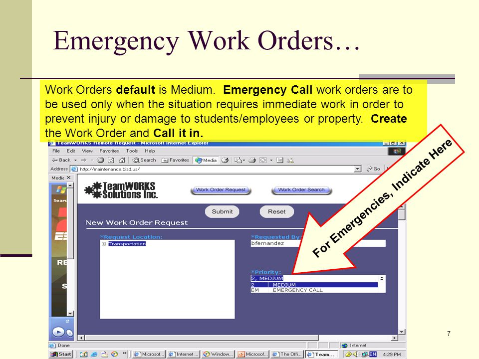 Emergency Work Orders…