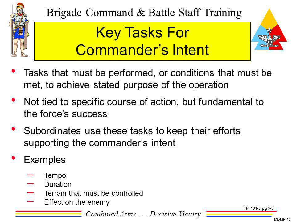 Key Tasks For Commander's Intent