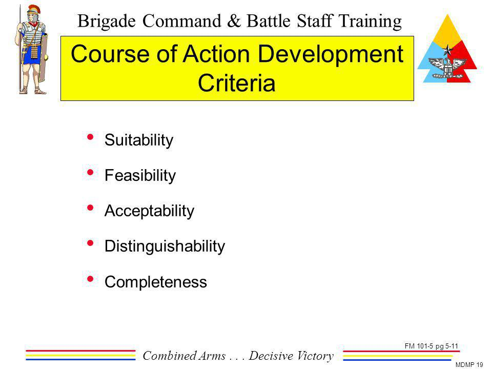 Course of Action Development Criteria