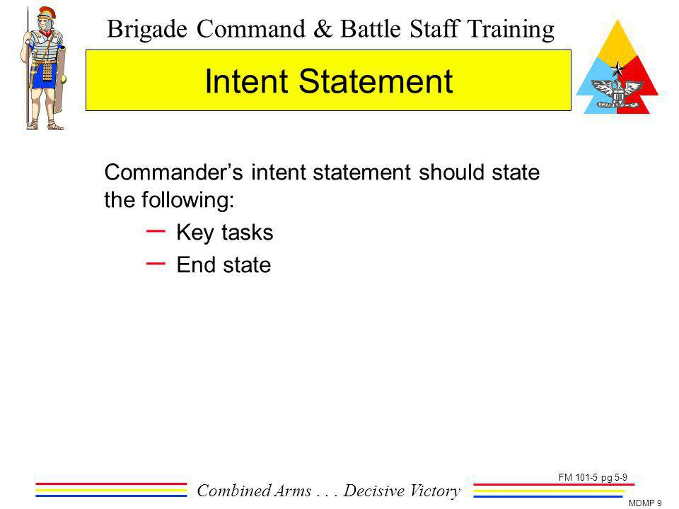Intent Statement Commander's intent statement should state the following: Key tasks.